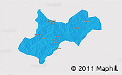 Political 3D Map of Tenkodogo, single color outside