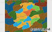 Political 3D Map of Boulkiemde, darken