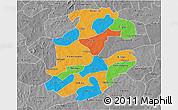 Political 3D Map of Boulkiemde, desaturated