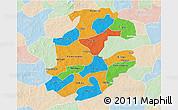 Political 3D Map of Boulkiemde, lighten