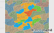 Political 3D Map of Boulkiemde, semi-desaturated