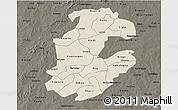 Shaded Relief 3D Map of Boulkiemde, darken