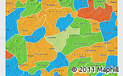 Physical Map of Kindi, political outside