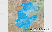 Political Shades Map of Boulkiemde, semi-desaturated