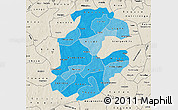 Political Shades Map of Boulkiemde, shaded relief outside