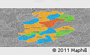 Political Panoramic Map of Boulkiemde, desaturated