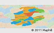 Political Panoramic Map of Boulkiemde, lighten