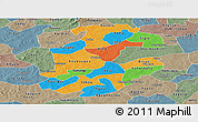 Political Panoramic Map of Boulkiemde, semi-desaturated