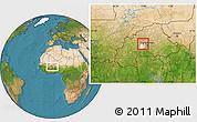 Satellite Location Map of Pella, highlighted parent region