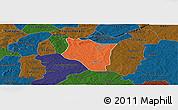 Political Panoramic Map of Banfora, darken