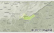 Physical 3D Map of Beregadougou, semi-desaturated