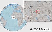 Gray Location Map of Douna, hill shading