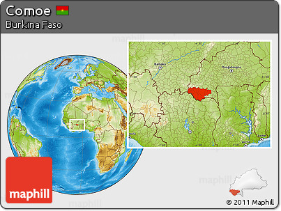 Physical Location Map of Comoe