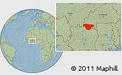 Savanna Style Location Map of Comoe, hill shading