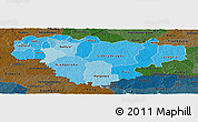 Political Shades Panoramic Map of Comoe, darken
