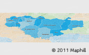 Political Shades Panoramic Map of Comoe, lighten