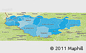 Political Shades Panoramic Map of Comoe, physical outside