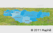 Political Shades Panoramic Map of Comoe, satellite outside