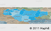 Political Shades Panoramic Map of Comoe, semi-desaturated
