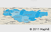 Political Shades Panoramic Map of Comoe, shaded relief outside