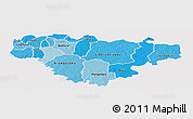 Political Shades Panoramic Map of Comoe, single color outside