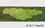 Satellite Panoramic Map of Comoe, darken