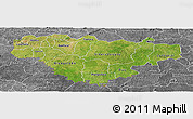 Satellite Panoramic Map of Comoe, desaturated