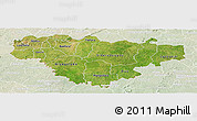Satellite Panoramic Map of Comoe, lighten