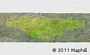 Satellite Panoramic Map of Comoe, semi-desaturated