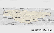 Shaded Relief Panoramic Map of Comoe, desaturated
