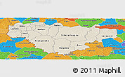 Shaded Relief Panoramic Map of Comoe, political outside