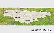 Shaded Relief Panoramic Map of Comoe, satellite outside
