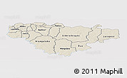 Shaded Relief Panoramic Map of Comoe, single color outside