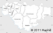 Silver Style Simple Map of Comoe, single color outside