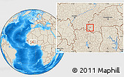 Shaded Relief Location Map of Wolonkoto