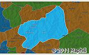 Political 3D Map of Bilanga, darken