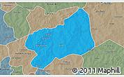 Political 3D Map of Bilanga, semi-desaturated