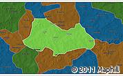 Political 3D Map of Bogande, darken