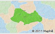 Political 3D Map of Bogande, lighten