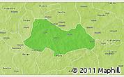 Political 3D Map of Bogande, physical outside