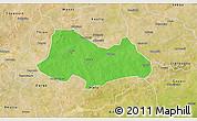 Political 3D Map of Bogande, satellite outside