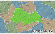 Political 3D Map of Bogande, semi-desaturated