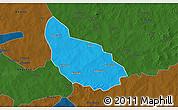 Political 3D Map of Liptougou, darken