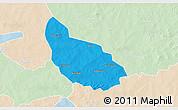 Political 3D Map of Liptougou, lighten