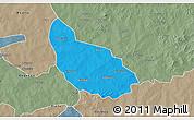 Political 3D Map of Liptougou, semi-desaturated