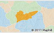 Political 3D Map of Piela, lighten