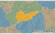 Political 3D Map of Piela, semi-desaturated