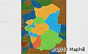 Political 3D Map of Gourma, darken