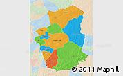 Political 3D Map of Gourma, lighten