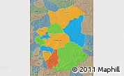 Political 3D Map of Gourma, semi-desaturated